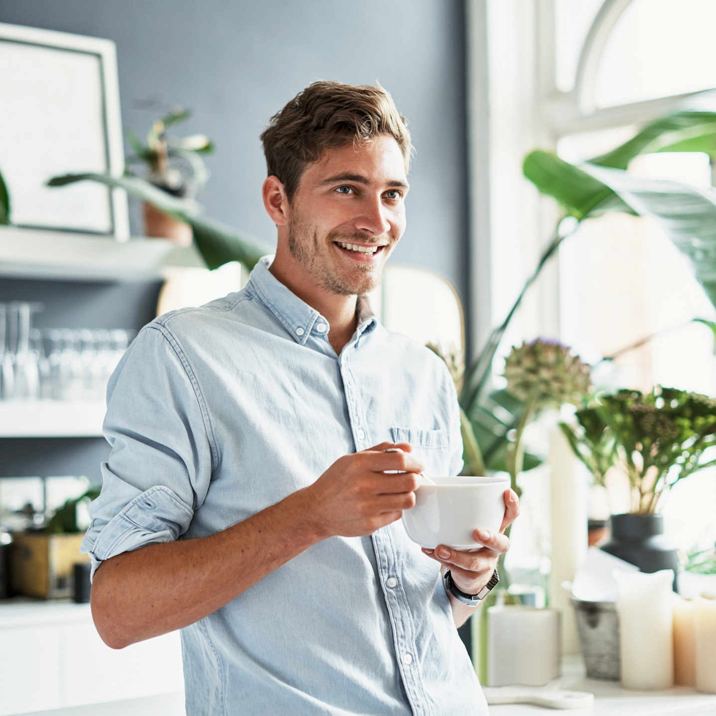 man Eating healthy and feeling great